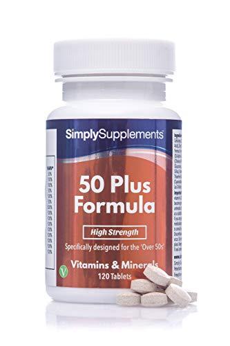 Fórmula 50 Plus multivitamínico con vitamina C - ¡Bote para 4 meses! - Apto para vegetarianos - 120 Comprimidos - SimplySupplements