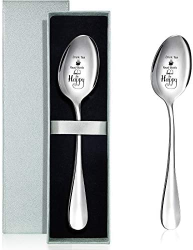 2 Pieces Drink Tea Read Book Spoon Be Happy Spoon Personalized Engraved Spoon Stainless Steel product image