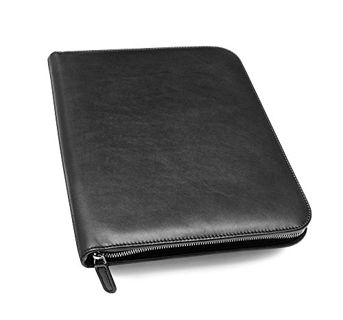 Maruse Personalized Italian Leather Executive Padfolio, Leather Portfolio Laptop Sleeve with Zip Closure and Writing Pad, Black