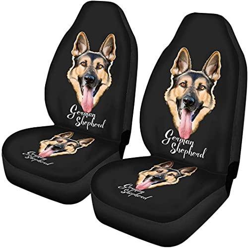 Kalynvi Juego completo de 2 fundas de asiento de coche de pastor alemán, flexibles, elásticas, para coches, camiones, furgonetas