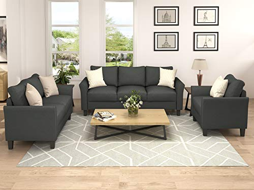 Harper & Bright Designs Living Room Furniture Set of 3, Small Armrest Chair Loveseat 3-Seat Sofa Couch Set (Dark Grey)