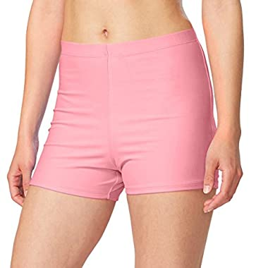 Baleaf Women's Basic High Waisted Boy Short Swim Bikini Tankini Bottom with Liner Pink Size M