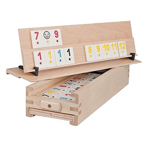 WOODTASTIC Rummy Spiel Medias - 106 Kacheln und eine Aufbewahrungsbox aus Massivem Buchenholz