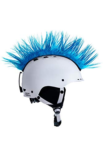 Crazy Ears Helm-Accessoires Irokese Mohawk Schwarz Weiß Pink Ski Snowboard, CrazyEars:Mohawk Hellblau