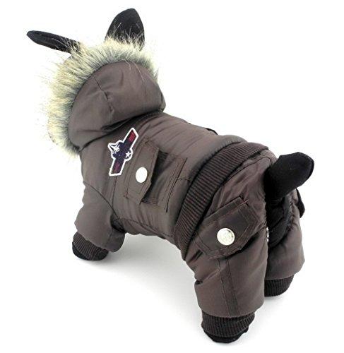 Zunea, Overall mit Kapuze für Hunde, mit Fleece, wasserdichter Schneeanzug (fällt klein aus, Bitte eine Größe größer bestellen) Braun L