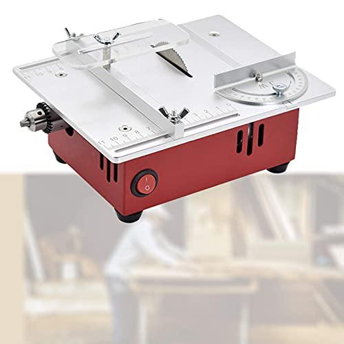 FZYE Mini Sierra de Mesa de Escritorio, Amoladora pulidora de máquina cortadora eléctrica, Ajuste de Siete velocidades, Corte de múltiples ángulos para Bricolaje/Placa PCB/Metal plá