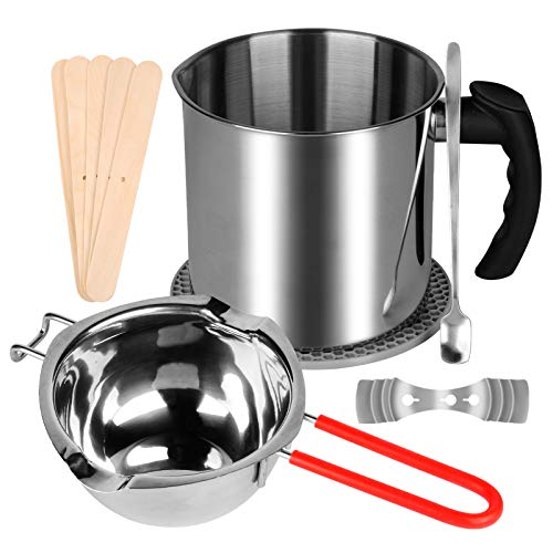 Candle Making Pouring Pot Kit, 1 Wax Melting Pot and 1 Stainless Steel Double Boiler Pot with Heat-Resisting Handle, and 13 Candle Making Tools