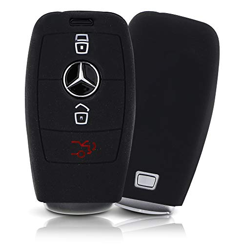 ASARAH Premium Silikon Schlüsselhülle geeignet für Mercedes Benz, Schutzhülle Autoschlüssel Cover - Schwarz MB 3BKL-c
