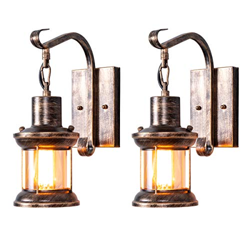 Rustic Wall Light Fixtures, Oil Rubbed Bronze Finish Indoor Vintage Wall Light Wall Sconce Industrial Lamp Fixture Glass Shade Farmhouse Metal Sconces Wall Lights for Bedroom Living Room Cafe(2 Pack)