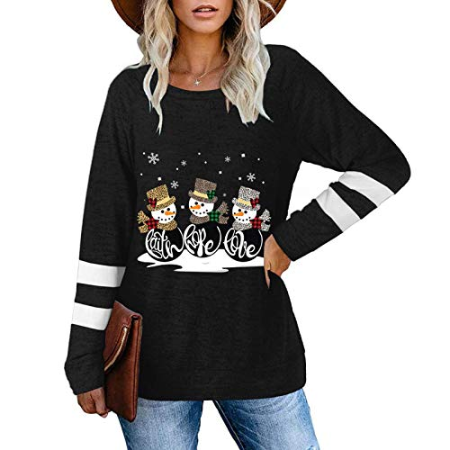 Franterd Christmas Sweatshirts, Womens Casual Stripe Long Sleeve Xmas Cute Snowman Print Loose Pullover Shirts Blouse