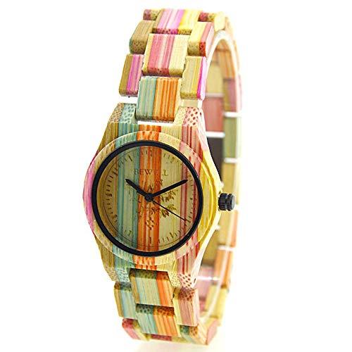 Dameshorloge kwarts meerkleurig met houten armband natuurlijk bamboe handgemaakt