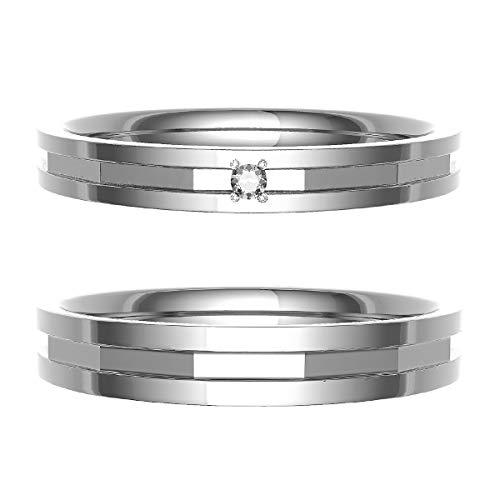 [ココカル]cococaru ペアリング 結婚指輪 プラチナ Pt900 2本セット マリッジリング ダイヤモンド 日本製(レディースサイズ3号 メンズサイズ14号)