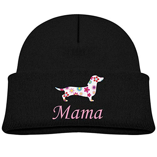 KAYCVD Dachshund Mama Baby Beanie Winter Hats Unisex Knit Warm Skull Cap for Toddler Infant Black