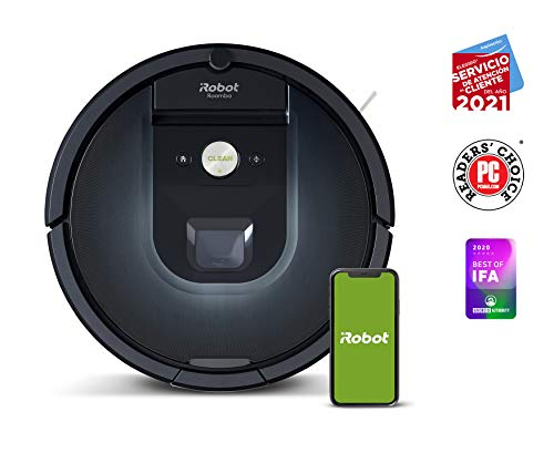 Robot aspirador iRobot Roomba 981, Alta potencia y Power Boost, Recarga y sigue limpiando, Óptimo para mascotas, Cepillos antienredos, Dirt Detect, Sugerencias personalizadas, Compatible con asistentes de voz Google y Alexa