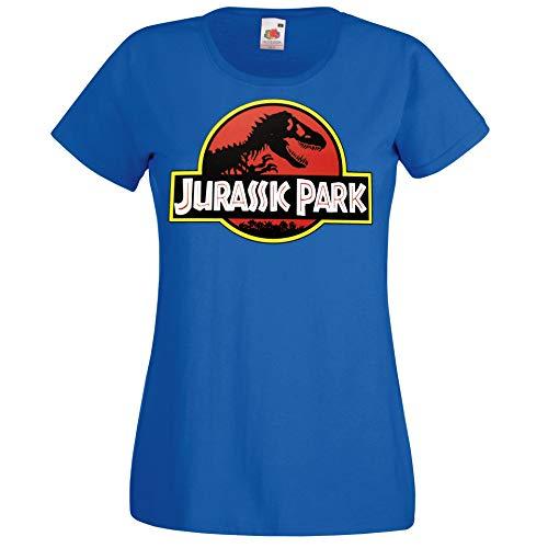 Youth Designz - Maglietta da donna modello Jurassic T-Rex blu royal S