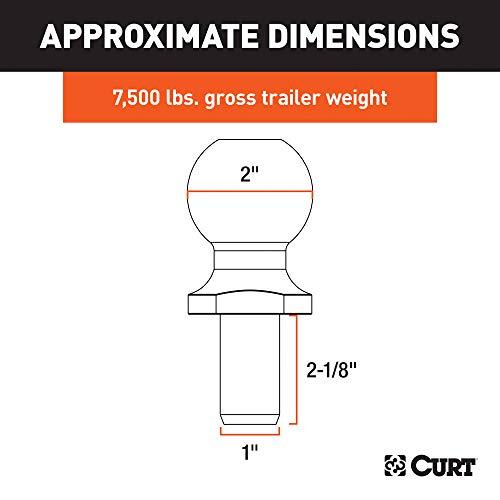 CURT 40038 Chrome Trailer Hitch Ball 12,000 lbs. 2-Inch Diameter Tow Ball with 1-Inch x 2-1//4-Inch Shank