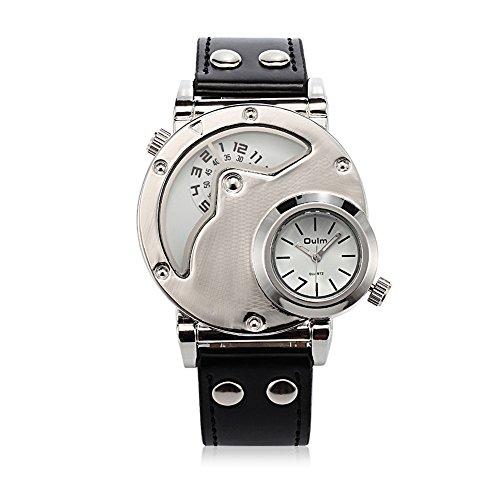 iLove EU Herren Armbanduhr Japanisches Quarz Analog Dual-Bewegung Doppel Zeitzonen Elegant Business Uhr mit Weiß Zifferblatt und Schwarz Leder Armband