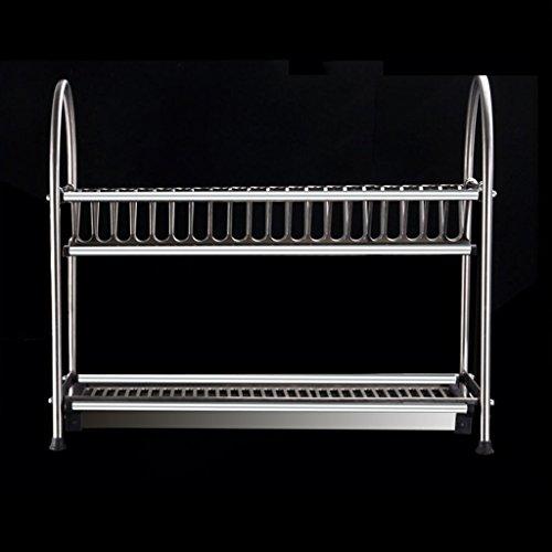 BOBE Shop- Estante Multifuncional de la Cocina - estantes del Plato de Acero Inoxidable de Las Capas Dobles/Estante del DREN/Estante del Plato (Tamaño : 55cm*28cm*32cm)