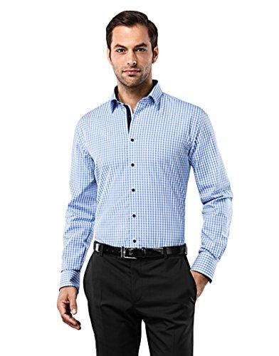 Vincenzo Boretti Herren-Hemd bügelfrei 100% Baumwolle Slim-fit tailliert kariert New-Kent Kragen - Männer lang-arm Hemden für Anzug Krawatte Business Freizeit blau/weiß 39-40