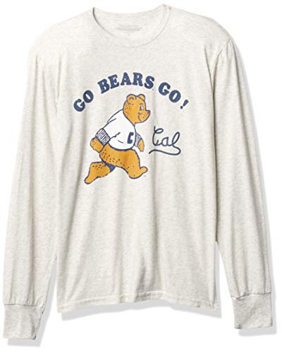 Reserve Collection by Blue 84 NCAA California Golden Bears Mens Vintage Tri-Blend Long Sleeve Vault T Shirt, California Golden Bears Oatmeal, Small