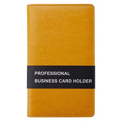 Sooez Leather Business Card Book Holder, Professional Business Cards Book Organizer PU Name Card Credit Cards Book Holder Booklet (Orange)