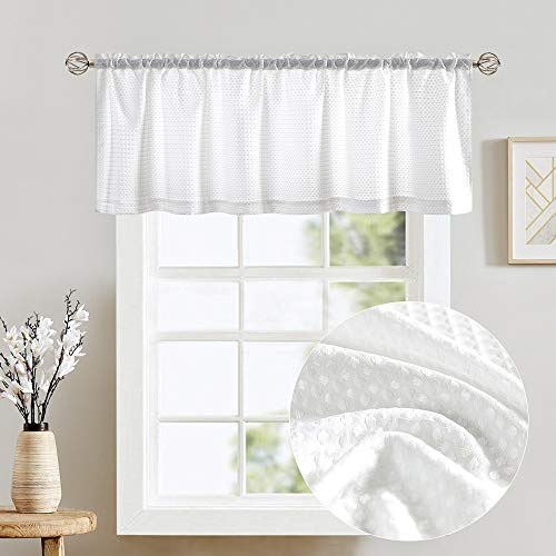 Vangao White Valances for Windows Rod Pocket Waffle Weave Textured Kitchen Curtains and Valances for Bathroom 18 inches Length 1 Panel
