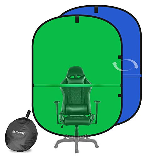Neewer Webcam Background, 2-in-1 Work from Home Video Conferencing Background for Chair, 5x7ft Dual-Sided Chroma key Green Screen Blue Screen for Video Chats/Zoom Calls/Game Live Streaming/Photography