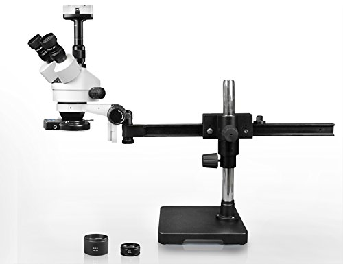 Vision Scientific Trinocular Zoom Stereo Microscope, 10x WF Eyepiece, 3.5x—90x Magnification, 0.5x & 2x Aux Lens, Gliding Arm Boom Stand, LED Gooseneck Dual Light, 10.0MP Digital Eyepiece Camera