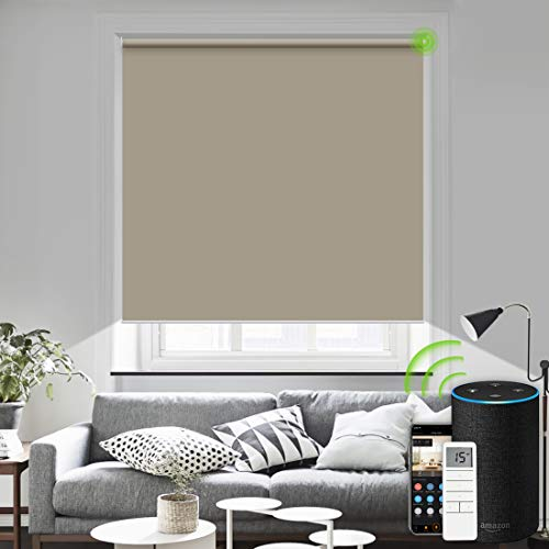 Yoolax Motorized Roller Blinds Wireless Rechargeable Roller Shade Blackout Voice Control Window Shades compatiable with Alexa (Coffee)