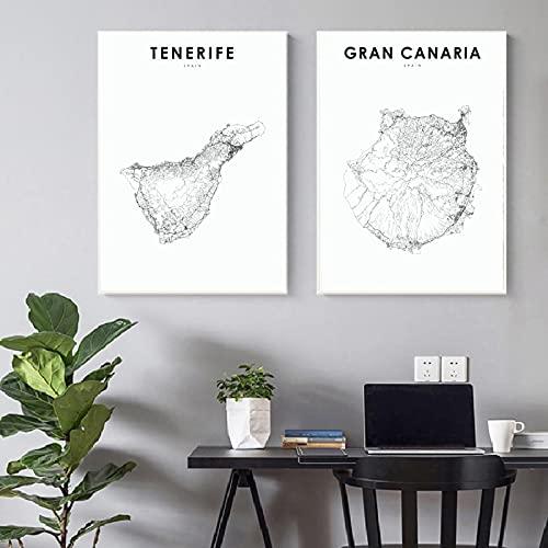 """Lienzo Impresiones En Hd Tenerife PóSter Arte De La Pared Mapa DecoracióN Del Hogar Gran Canaria Pintura Cuadros NóRdicos Modulares Sala De Estar Simple 90x120cmx2 (36x48""""X2) Sin Marco"""