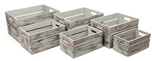 small foot 11386 Houten kist Vintage grijs, van hout, moderne decoratiedozen, 6-delige decoratie, meerkleurig, normaal