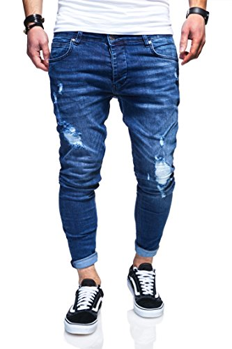 behype. Herren Destroyed Jeans-Hose 80-3496 Blau 32/32