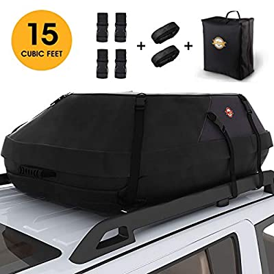 Car Roof Bag Cargo Carrier, 15 Cubic Feet Waterproof Rooftop Luggage Bag Vehicle Softshell Carriers with 6 Reinforced Straps and Storage Carrying Bag for All Vehicle with/Without Rack