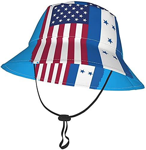 KEROTA Sombrero de cubo de la bandera de Honduras americano para bebés y niñas, sombrero de verano transpirable para playa 2-4T