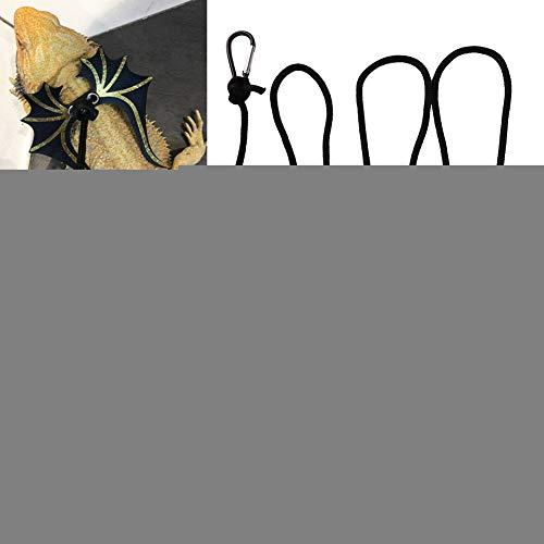 Naroote Verstellbarer Eidechsengurt, Eidechsenleinenseil, Haustier-Reptilien-Eidechsenleder-Leinenseil für Eidechsen-Haustiere(Black)