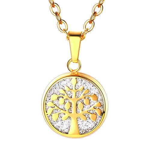 FaithHeart Kette Damen, Sterling Silber Anhänger mit Lebensbaum Halskette,Edelstahl Schmuck Stammbaum Gold Lange Ketten- Geschenk-Box