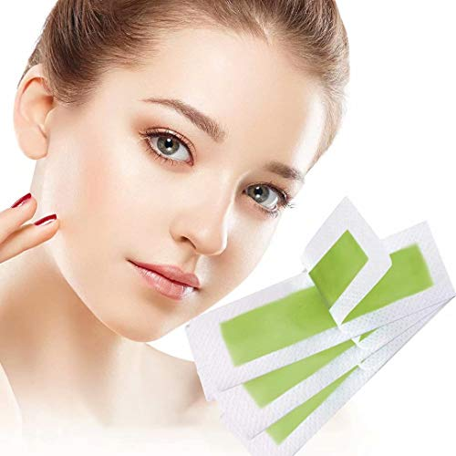 Wax Strips, Facial Hair Removal for Women, cheek, Upper lip, Chin, Hypoallergenic, Good for All Skin Types, 72 Strips