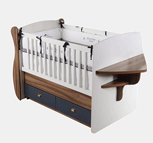 Check Out This ADMIRAL Rocking Crib Boat Shaped Nautical Modern Design with Drawers for Baby Boy