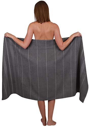 Betz Badetuch XXL Strandtuch Lines 100% Baumwolle Größe 90 x 180 cm Farbe grau