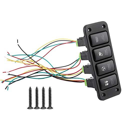 Interruptor pulsador, panel de 4 interruptores, luz de conducción, interruptor de Blu-ray, botón pulsador, ajuste negro para Hailax, para Cool Road, para VIGO