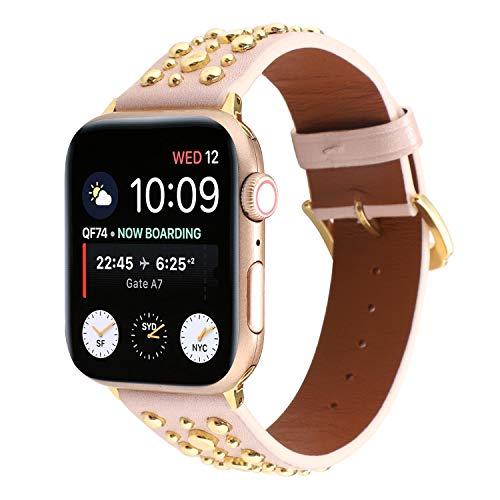 Estuyoya - Pulsera de Piel con Tachuelas compatible con Apple Watch Diseño...