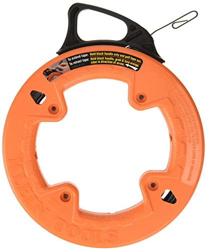 Klein Tools 56001 Fish Tape, 50-Foot Long x 1/8-Inch Wide Steel Pull Line, for Heavy Duty Wire Pulls, Updated Model Cat. No. 56331 Available