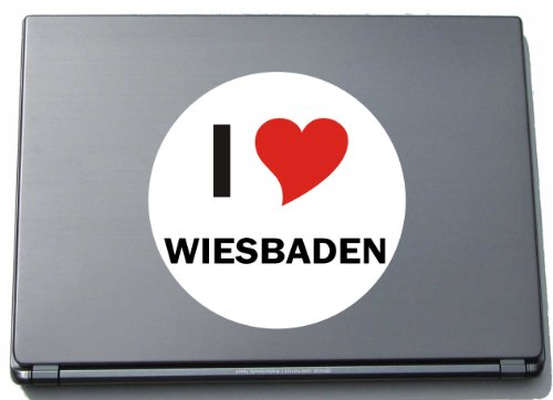 Indigos I Love Aufkleber Decal Sticker Laptopaufkleber Laptopskin 297 mm mit Stadtname Wiesbaden