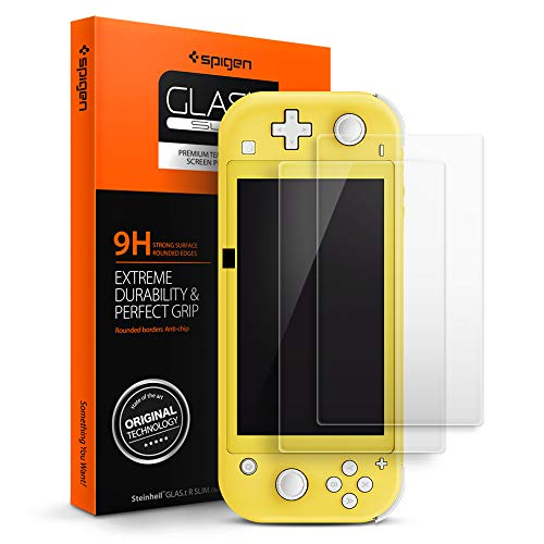 Spigen, 2Pezzi, Vetro Temperato Nintendo Switch Lite, Glas.tR, 9H Durezza, Custodia Compatibile, Alta Reattività, Niente Bolle, Anti-impronta, Pellicola Nintendo Switch Lite