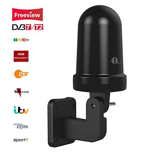 1byone Antena de TV Interior/Exterior, Omnidireccional Antena de TV Digital para Receptor HDTV/DVB-T, VHF/UHF/FM, TDT Digital y señales de TV analógicas, tecnología SMD, Resistente al Agua - Negro
