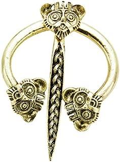 Prettyia Vintage Viking Norse Fibula Penannular Brooch, Animal Head Design Apron Buckle Clasp Cloak Pin for Women Men