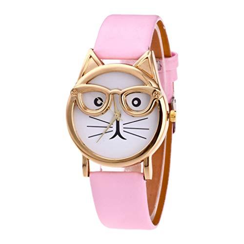 HWTOP Damen Quarzuhr Modisches Einfaches Schöne Katze Mit Brille Armband Zifferblatt Quarz Uhren Geschenk, Rosa