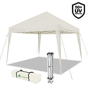 VOUNOT Gazebo Plegable Cenador 3x3 m Pabellon de Jardin, Impermeable y Pop Up, Blanco