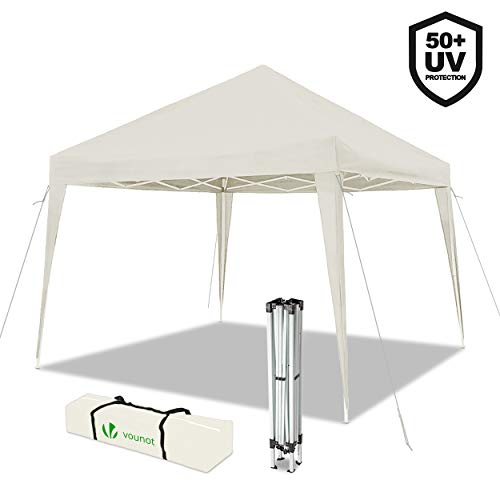 VOUNOT Gazebo Plegable Cenador 3x3 m Pabellon de Jardin, Impermeable y Pop Up, Blanco
