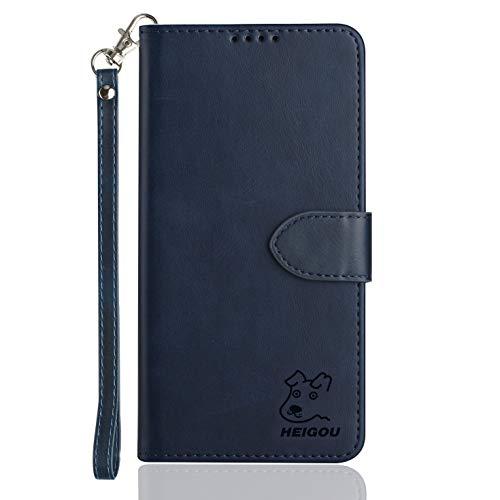 HEIGOU - Custodia a portafoglio per Wiko Wim Lite, in pelle PU, con scomparti per carte di credito e chiusura magnetica, colore: Blu scuro